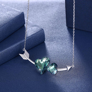 Double Love Hearts Arrow Sterling Silver Swarovski Crystal Necklace