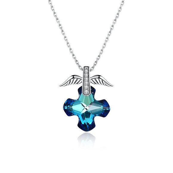 2.00 CT Bermuda Blue Swarovski Crystals Sterling Silver Flying Angel Necklace