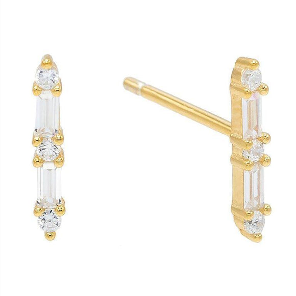 Baugette Trendy Kim Stud Earring Embellished with Swarovski Crystals in 18K Gold Plated