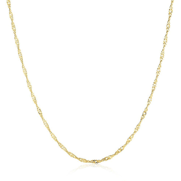 18K Gold Plated Twisted Singapore Chain Necklace