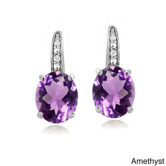 1.50 Ct Oval Cut Amethyst with Pave crystals Stud Earring in 18K White Gold Plated