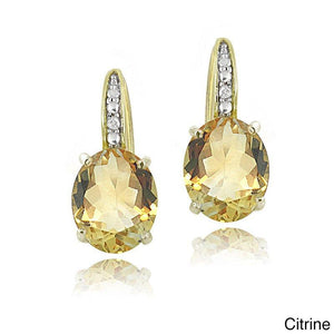 1.50 Ct Oval Cut Yellow with Pave crystals Stud Earringin 18K Gold Plated