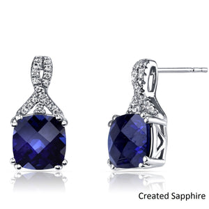 2.00 CT Cushion Cut Sapphire Stud Earring in 18K White Gold Plated