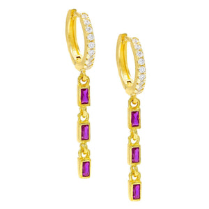 Dainty Dangle Pink Topaz Baugette Drop Earring Embellished with Swarovski Crystals in 18K Gold Plated