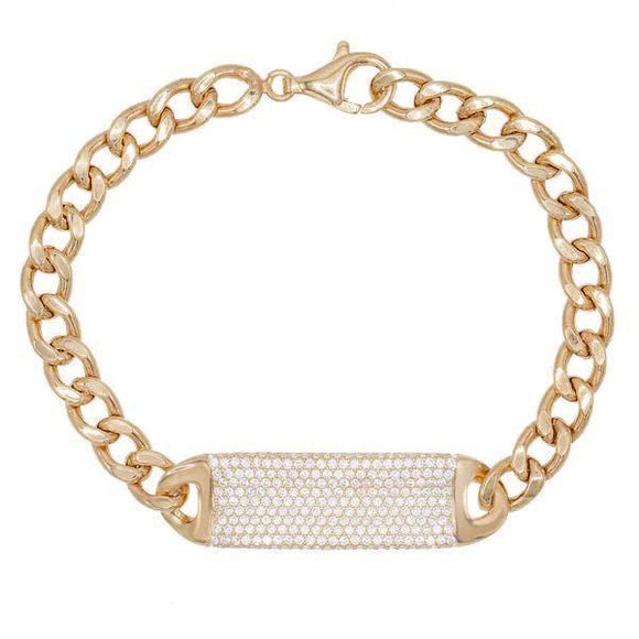 Pave ID Link Curb Chain Bracelet in 18K Rose Gold Plated