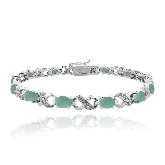 10.00 CT Genuine Opal Infinity Bracelet Embellished with Swarovski Crystals in 18K White Gold Plated