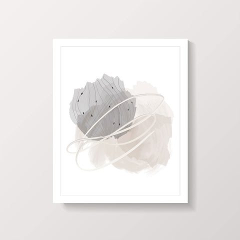 Beige and Grey Abstract Painting Print