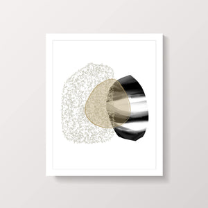 Beige and black abstract shape art print