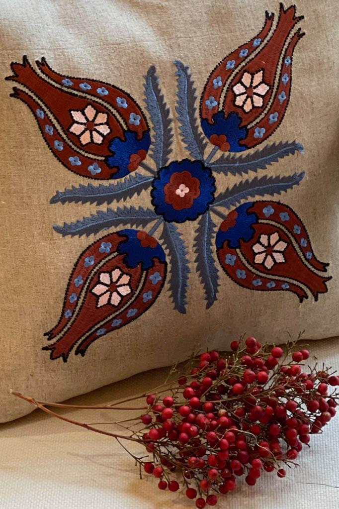 "Embroidered ""Laleh"" Cushions Rosewater House"