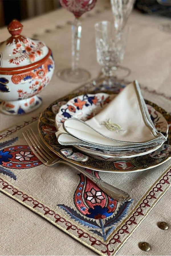 "Embroidered ""Laleh"" Napkins Rosewater House"