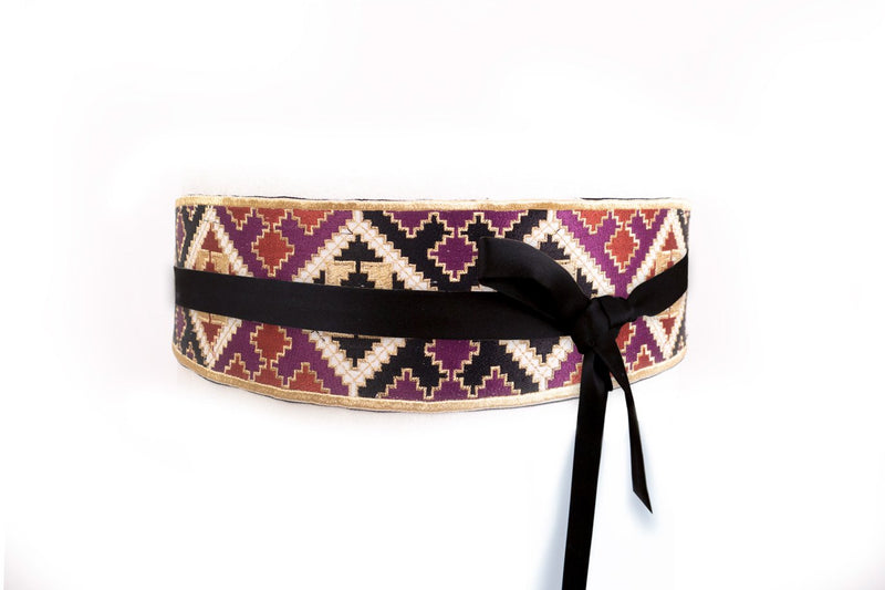 Balouch Belt - Black, Brick & Purple
