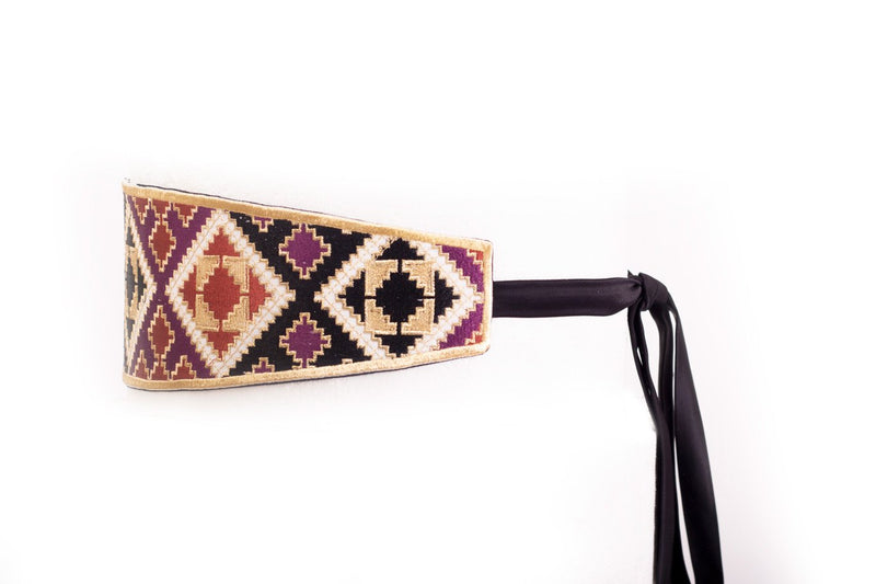 Balouch Belt - Black, Brick & Purple Belt RoseWaterHouse