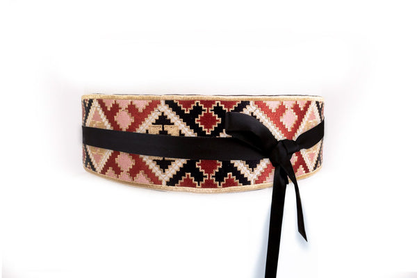 Balouch Belt - Black, Brick & Pink Belt RoseWaterHouse