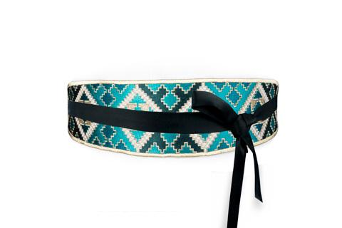 Balouch Belt - Turquoise & Black Belt RoseWaterHouse