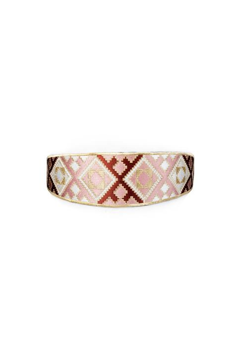 Balouch Belt - Pink, Brick & White Belt RoseWaterHouse
