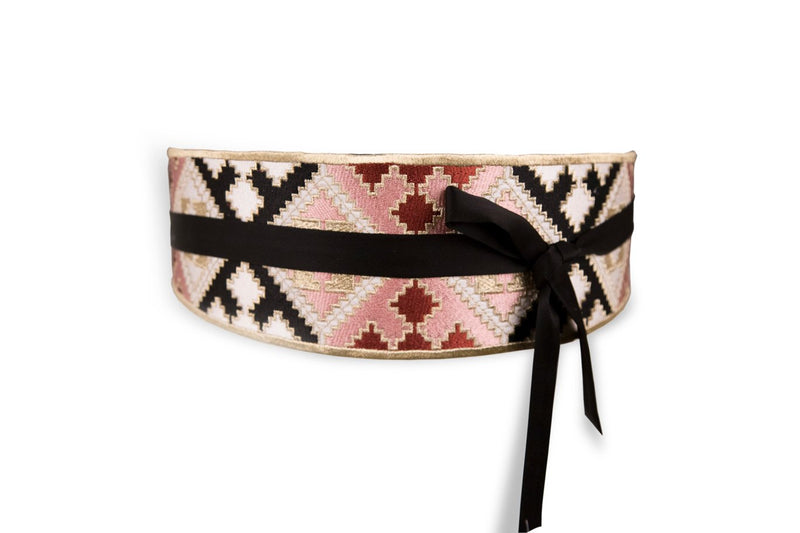 Balouch Belt - Pink, Black & Brick Belt RoseWaterHouse