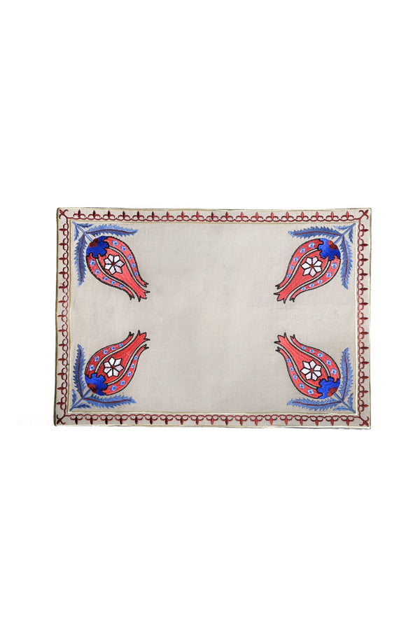 "Embroidered ""Laleh"" Placemats placemats Rosewater House"