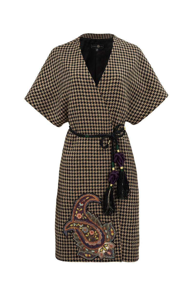 Zarin Wrap Coat - Houndstooth coat Rosewater House