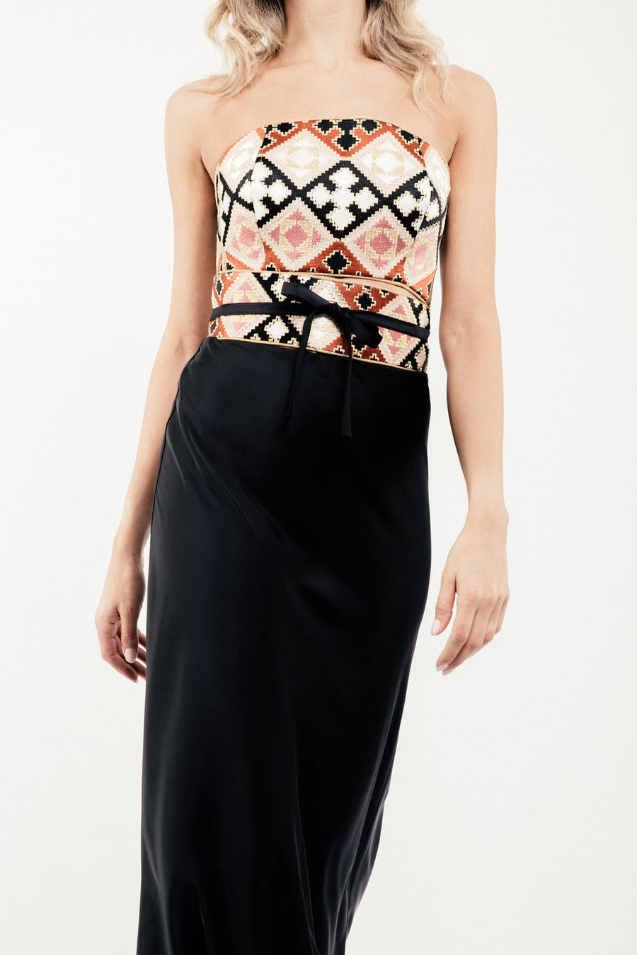 Jahan Crop Top + Belt - Pink and Black