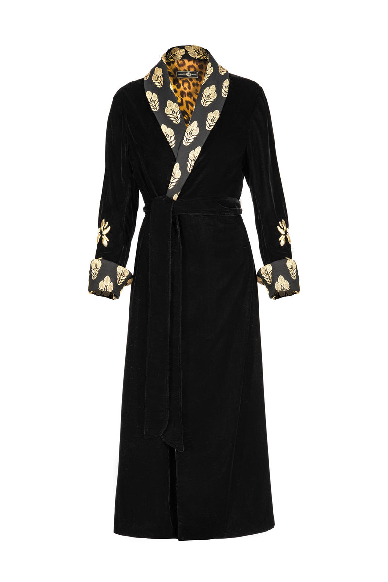 Mahtab Robe - Black EMBROIDERED Rosewater House