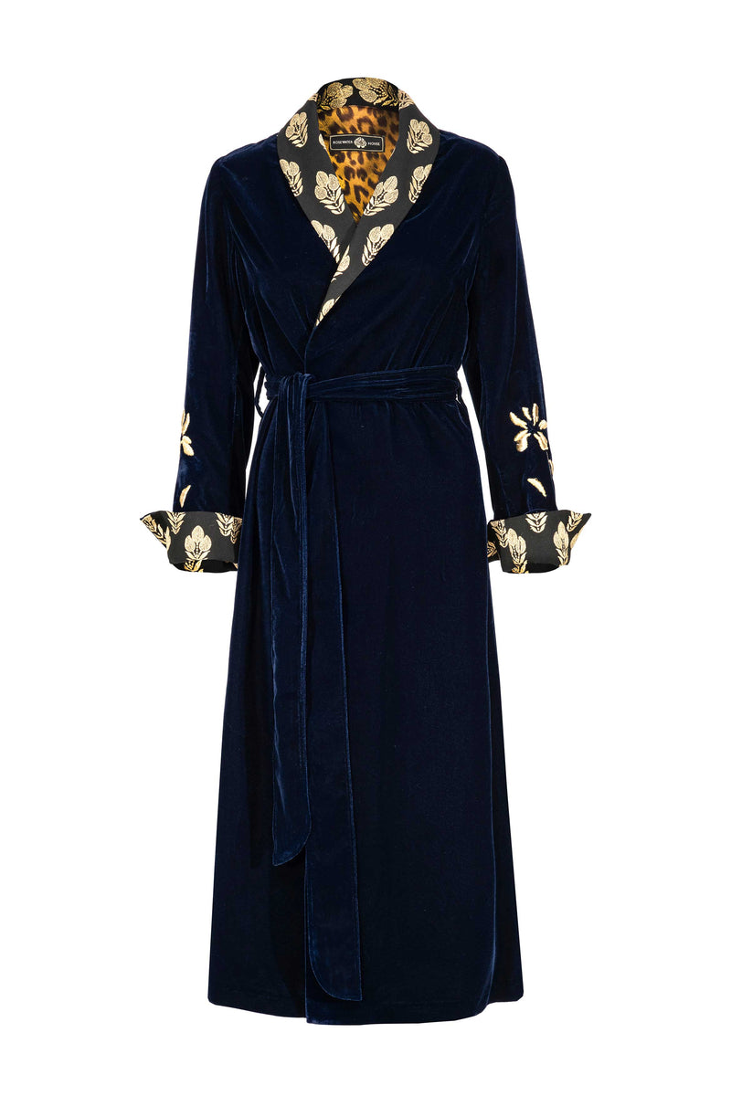 Mahtab Robe - NAVY EMBROIDERED Rosewater House