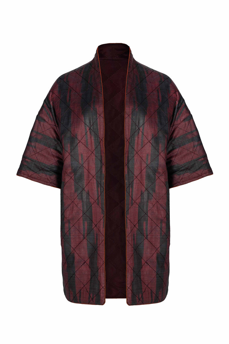 Ikat Reversible Jacket - Bordeaux & Bordeaux Jacket RoseWaterHouse