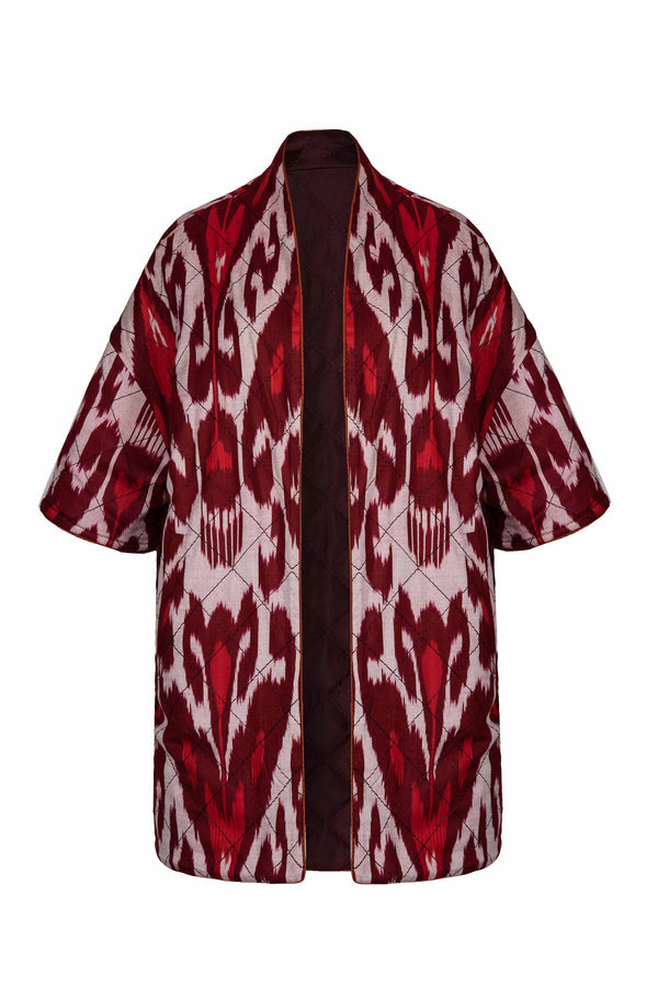 Ikat Reversible Jacket -Bordeaux & Magenta Jacket RoseWaterHouse