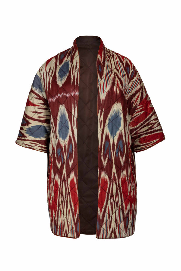 Ikat Reversible Jacket - Brown & Brick Jacket RoseWaterHouse