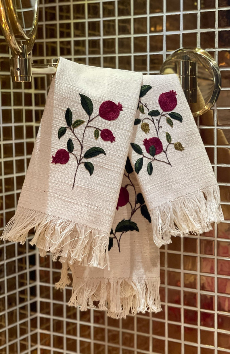 Hand Embroidered Hand Towel Set - Pomegranates placemats Rosewater House