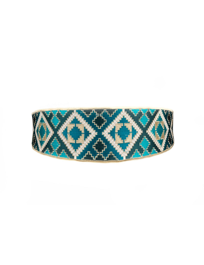Balouch Belt - Turquoise & White Belt RoseWaterHouse