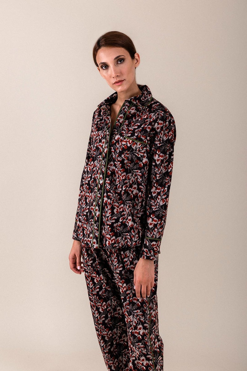 Cotton Printed PJs - Black Floral Rosewater House