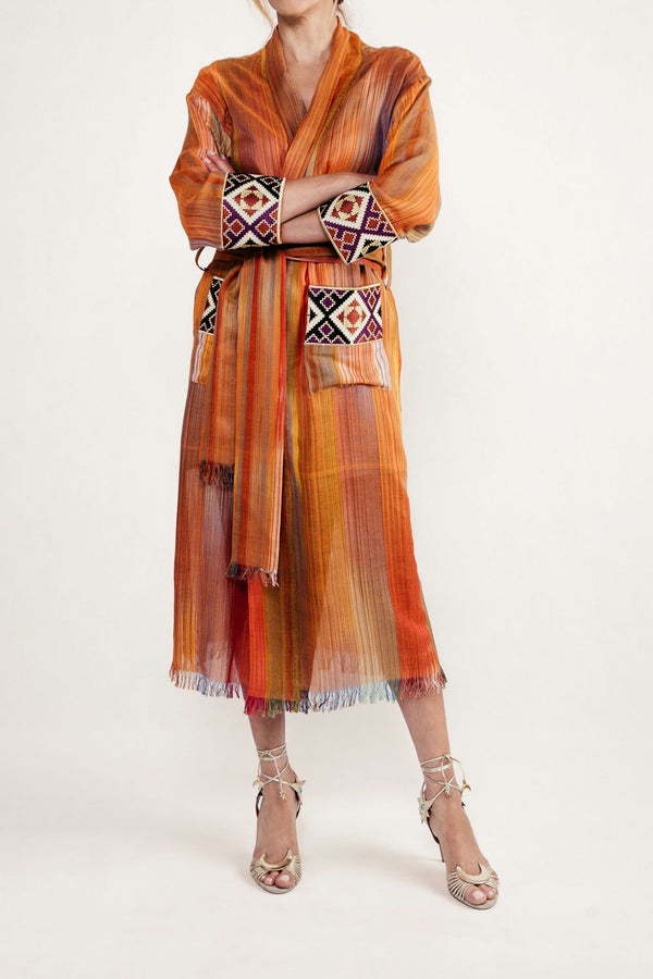 Darai Duster - Orange Robe Rosewater House