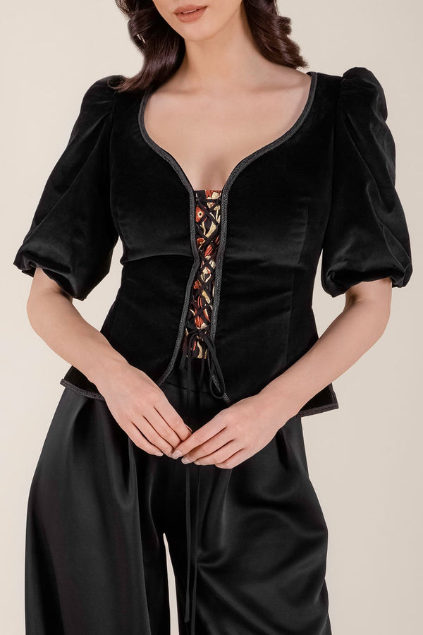 Velvet Tsarina Top - Black Rosewater House