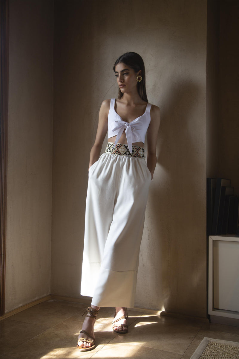 Raha Wide Leg Cropped Pants - White Pants Rosewater House