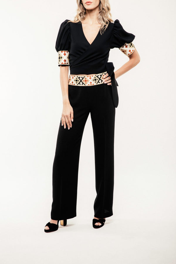 Embroidered Kaveh Straight Leg Pant - Black