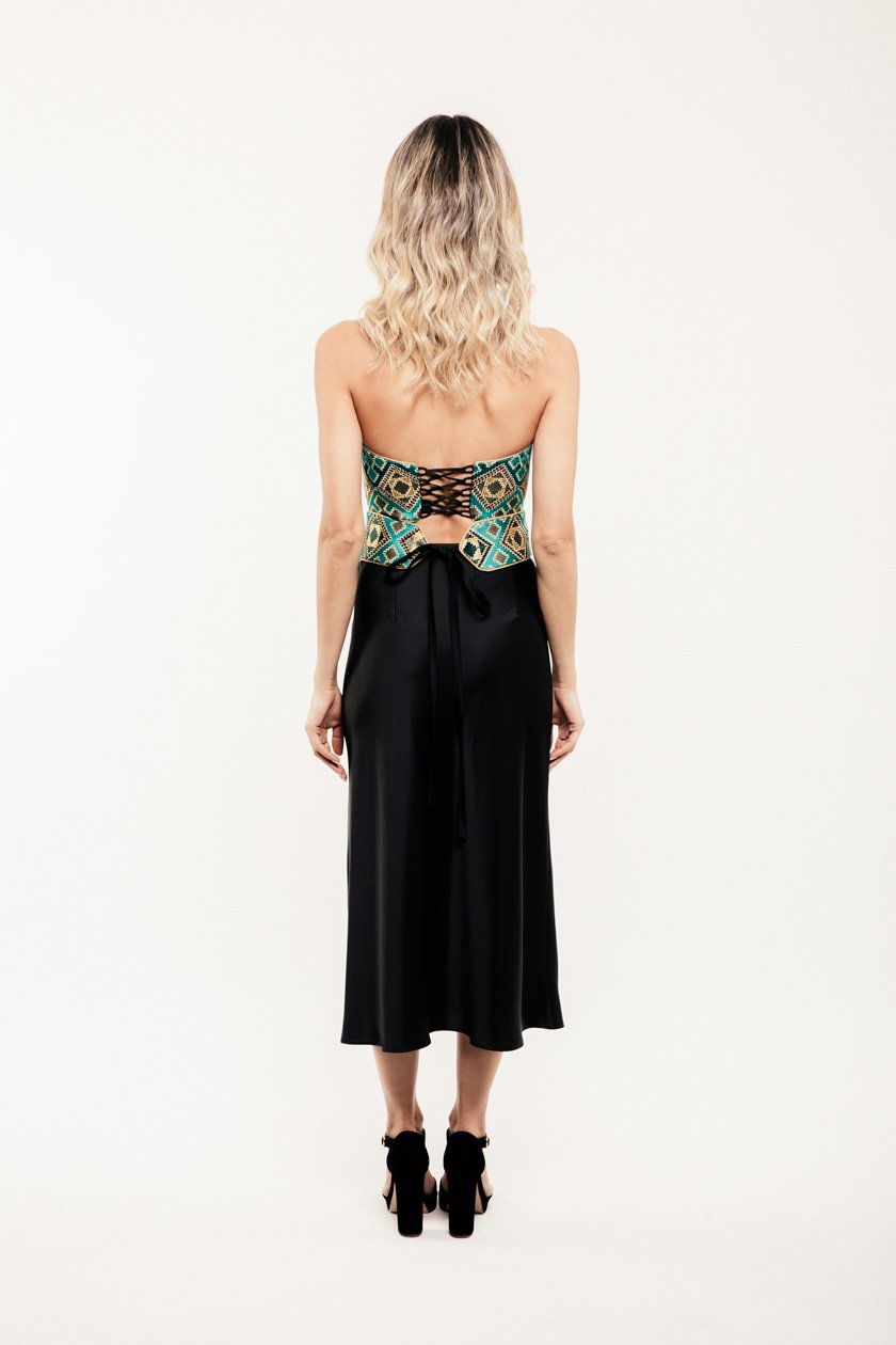 Jahan Crop Top + Belt - Blue