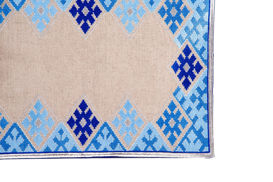 Hand-Embroidered Placemats - Blue & Silver