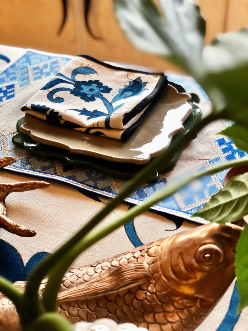 Isfahan Hand Painted Napkins - Green RoseWaterHouse