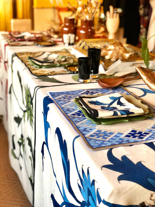 Isfahan Hand Painted Napkins - Blue RoseWaterHouse