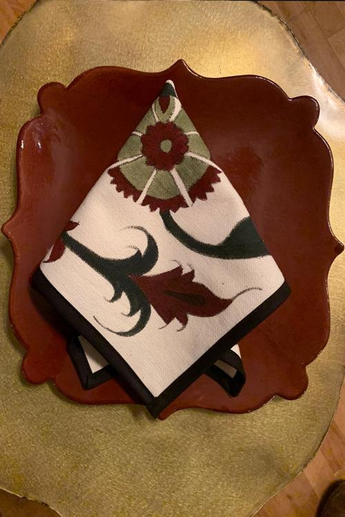 Hand-Painted Napkins - Bordeaux & Green RoseWaterHouse