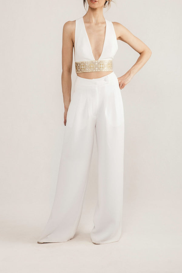 Maneli Crop Top - Ivory Tops Rosewater House