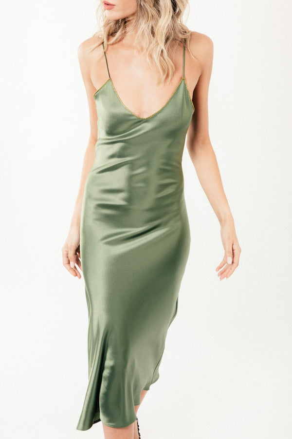 Darya Slip Dress - Olive
