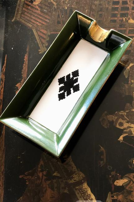 Porcelain Rectangular Ashtray - Olive Green Rosewater House