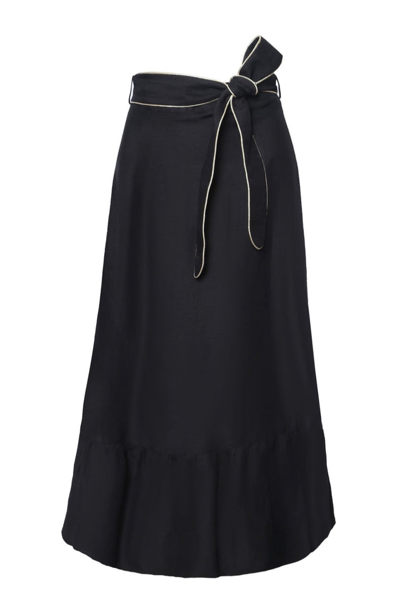 Noor Belted Midi Skirt - Black Rosewater House