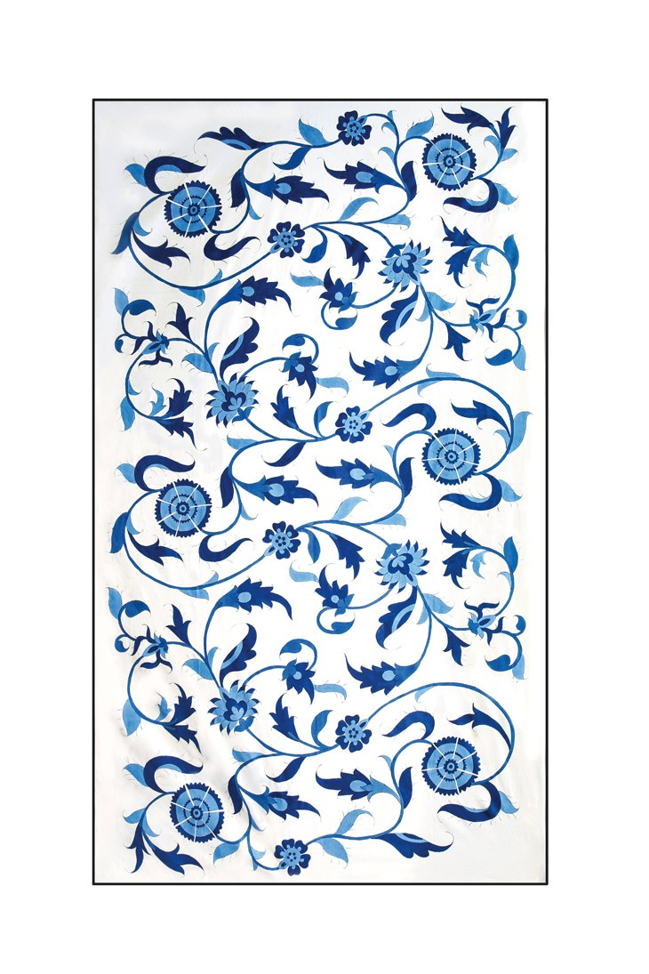 Isfahan Hand Painted TableCloth - Blue RoseWaterHouse