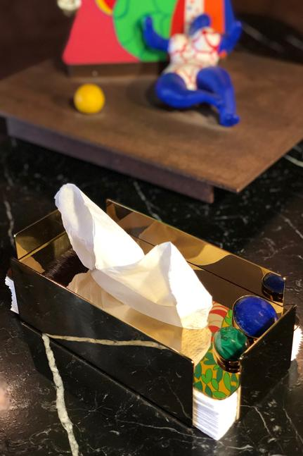 Tissue box - gold Rosewater House