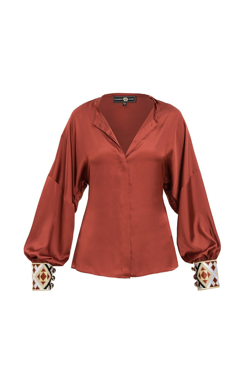 Silk Yar Blouse - Brick Tops RoseWaterHouse