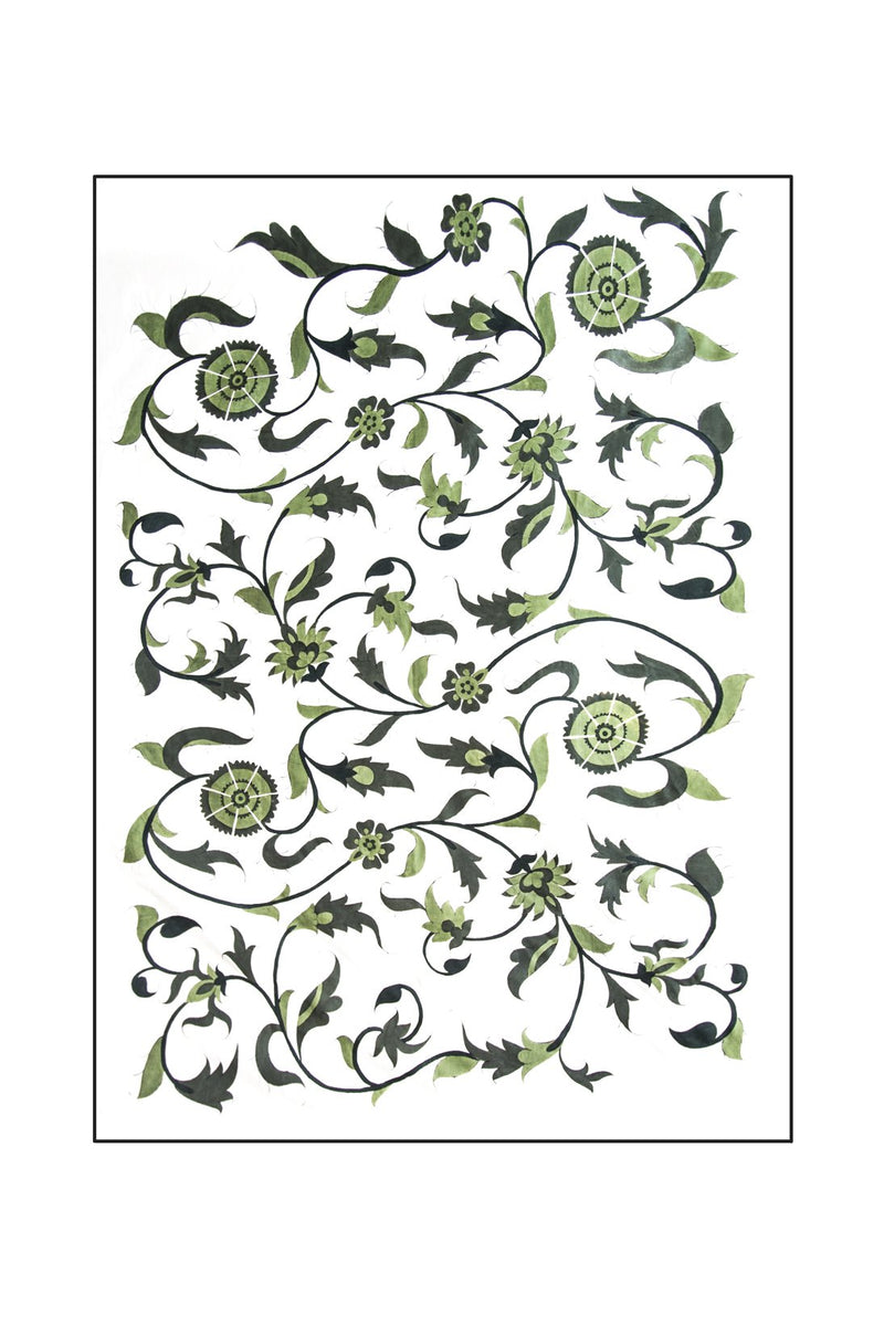 Isfahan Hand Painted Tablecloth - Green RoseWaterHouse