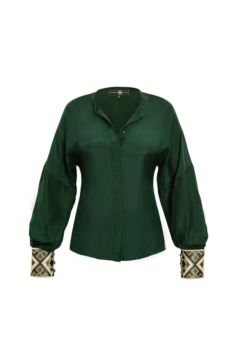 Silk Yar Blouse - Forest Green Tops RoseWaterHouse