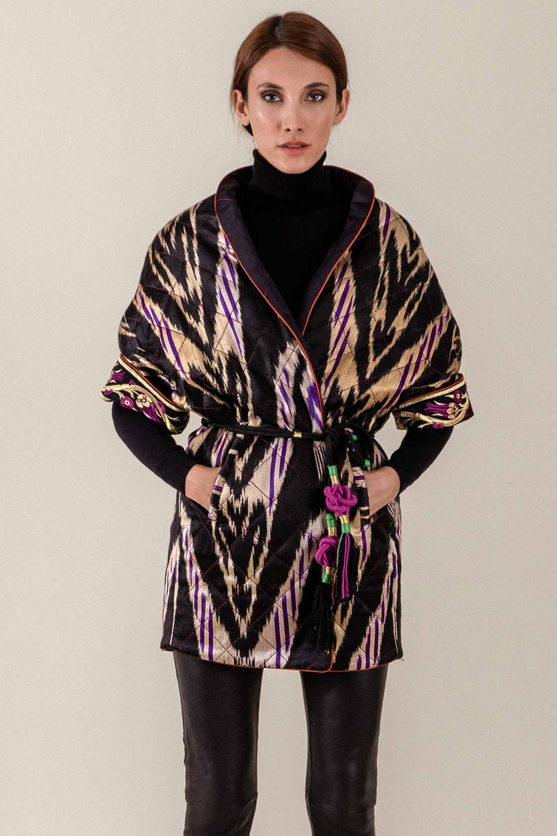 Ikat Reversible Jacket - Black & Purple Jacket RoseWaterHouse